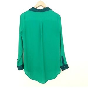 Free People Tops - Free People Bright Green Sheer Hi Lo Button Blouse